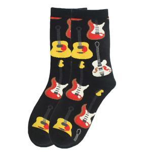 Guitar Socks Black Background / 1 Pair, Unisex Size M / Mens Ladies Teens