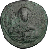 JESUS CHRIST Class A2 Anonymous Ancient 1025AD Byzantine Follis Coin i50097