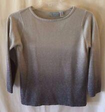 Gloria Vanderbilt womens sweater size medium silver gray ombré metallic sparkle
