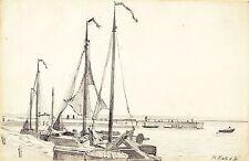 Rudolf Hirth du Frenes, Segelboote, Bleistiftzeichnung, signiert, um 1870/80