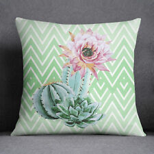 S4Sassy Mint Green Cushion Cover Floral Cactus Print Square Pillow Case