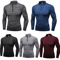 Men's 1/4 Zip Stand Collar Winter Sports Elastic Top Pullover Sweatshirt T-shirt