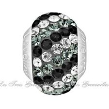 Lovelinks Bead Sterling Silver, Swarovski Black Gray Clear Crystal Charm TT449BK