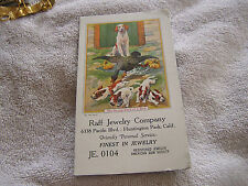 Vintage Raff Jewelry Comany Card Huntington Park California with Dog and Puppies