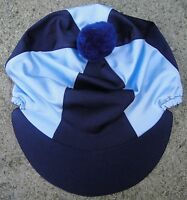 Lycra Riding Hat Silk Skull cap Cover NAVY & BABY BLUE * With OR w/o Pompom
