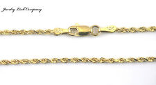 "14K Solid Yellow Gold 2mm Diamond Cut Rope Chain 22""  6.3Grams"