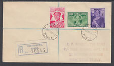 Tonga Sc 91-93 FDC. 1950 Queen Salote 50th Birthday, Registered to New York
