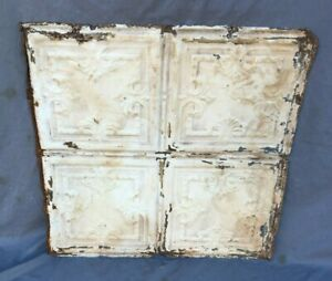 "Antique Tin Metal Ceiling  2' x 2' Shabby VTG Old 24"" SQ Chic White  1156-20B"