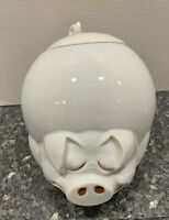 McCoy Pottery White Quigley Sleepy Happy Rotund Pig Cookie Jar w Curly Tail Lid