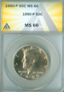 1990-P KENNEDY HALF DOLLAR ANACS MS66 FREE S/H (2026268)
