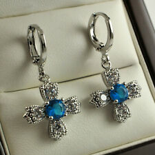 White Gold Filled Blue Aquamarine Clear Crystal Cross Dangle Drop Earrings 330