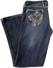 Wrangler Rock 47 Ultra Low Rise Embellished Cross on Pockets, Blue Jeans, 34x28