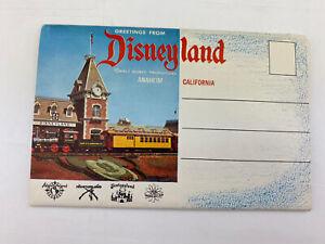 Vtg 1956 Disney Land Folding Postcard Package Frontierland Fantasyland Anaheim