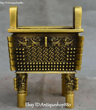 Pure Bronze Dragon Loong Dragons Beast Ding Incense Burner incensory Censer