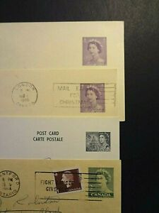 Canada Mail; 4 Old Canadian Postal Stationery Stamp Cards; Queen Elizabeth II