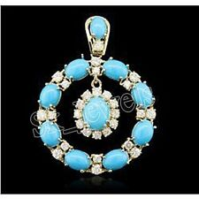 1.10ct NATURAL DIAMOND TURQUOISE 14K WHITE GOLD WEDDING ANNIVERSARY PENDANT