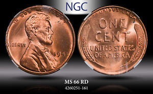1941 LINCOLN WHEAT CENT NGC MS 66 RD UNC BU CHOICE COIN IN HIGH GRADE