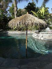 7' Collapsible Thatch Bamboo & Sea Grass Folding Umbrella 7 Ft Commercial Tiki
