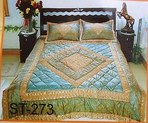 Satin Quilt / Bedspread 3 Pcs Set King/Queen Different Patterns and Muti-Colors