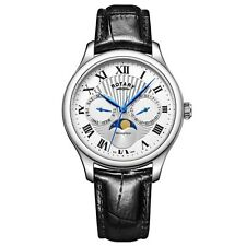 Rotary GS05065-01 Hommes Montres Moonphase Noir Montre Chronographe
