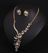 Fashion Charm Crystal Flower Necklace+Earrings Fashion Women Accessories