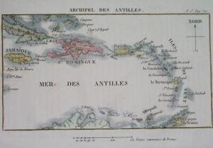 1837 UNUSUAL ORIGINAL MAP WEST INDIES ANTILLES CUBA JAMAICA BAHAMAS CARRIBEAN