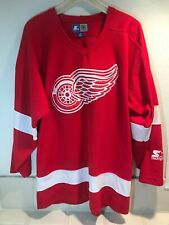 Vintage 90s Detroit Red Wings Mens Red Starter NHL Hockey  jersey Size M Ferris