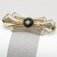 Vintage 1920s Art Deco 10k Gold Onyx Diamond Seed Pearl Filigree Bar Brooch Pin