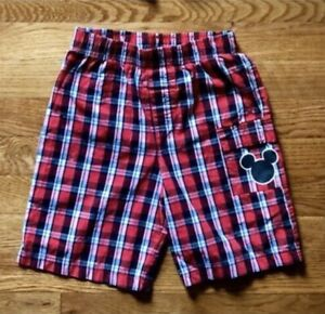 Disney Mickey Mouse Boys Pull On Shorts Red Black Plaid Road Racers 5T