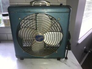 """Vintage Eskimo Model 2012 Metal Case Box Fan 3 Speed 15"""" Metallic Blue WORKS!"""