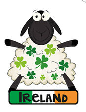 Irish Sheep Tricolour Shamrocks Ireland Embroidered Sew-on Cloth Patch Appliqué