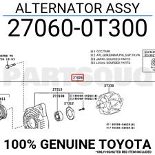 270600T300 Genuine Toyota ALTERNATOR ASSY 27060-0T300