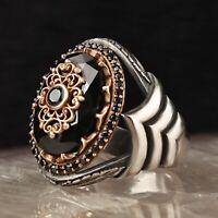 Turkish Jewelry 925 Sterling Silver Onyx New Black Gentleman Stone Mens Ring Usa