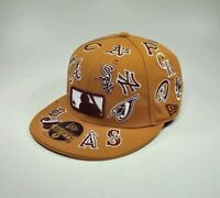 New Era 59Fifty Hat MLB Teams All Over Mens Wheat Brown White Fitted 5950 Cap