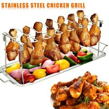 Stainless Steel Chicken Wing Leg Rack Grill Holder with Drip Pan for Cooking