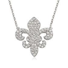 Sterling Silver Pave CZ Fleur de Lis Saints NOLA Kappa Kappa Gamma Flor Necklace
