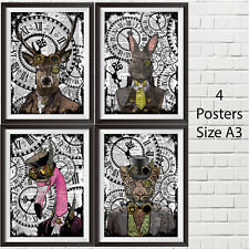 4 Posters Size A3 Steampunk Animal collection