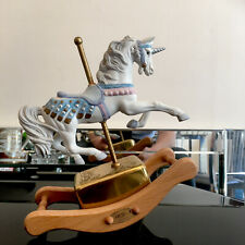 More details for westland musical memory tune unicorn carousel mechanical rocking horse ornament