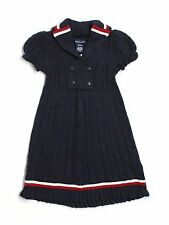 New Girl Ralph Lauren 100% Cashmere Navy Blue Nautical Sweater Dress Size M 8/10