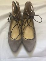 Isaac Mizrahi Tan Suede Lace up Pointed Toe Ballet Flats 7