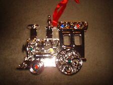 Lenox Sparkle And Scroll Multi Crystal Silver Plate Train Ornament