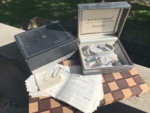 Vintage Bulova Accutron 214 Spaceview B Box & Tags Set w/ Original Receipts