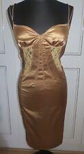 Dolce and Gabbana D&G bustier satin lace gold sexy dress sz UK12EU38US10