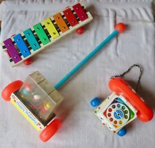 Fisher-Price Lot - Pull-A-Tune #870, Chatter Telephone #747 & Happy Hoppers #121