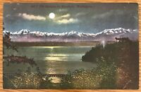WASHINGTON THE OLYMPICS MOUNTAINS BY MOONLIGHT POSTCARD 695