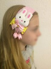 Bandeau Elastique Rose Clair Lapin Noeud Pendentif Boule Cheveux Coiffure Enfant