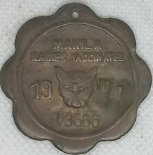 1971 MANILA RABIES VACCINE Philippines Dog Tag