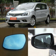 Rearview Mirror Blue Glasses LED Turn Signal with Heating For Nissan Livina