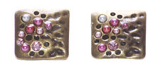 Charismatic Pink, White Stone & Diamante Cuff Styled Metal Earrings.(Zx115)