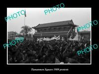 OLD POSTCARD SIZE PHOTO OF 1989 TIANANMEN SQUARE PROTESTS ANGRY STUDENTS